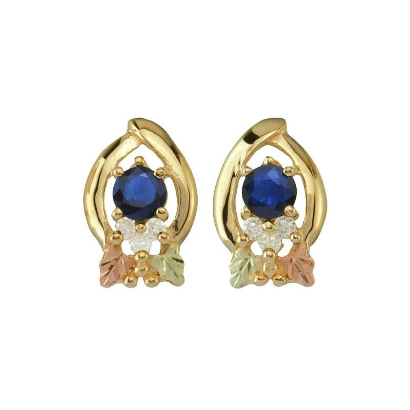 10k Black Hills Gold Sapphire And Diamonds Earrings