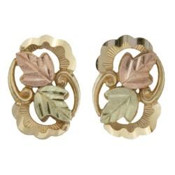 10k Black Hills Gold Leaves  Earrings