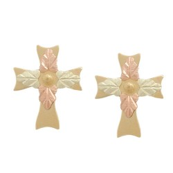 10k Black Hills Gold Cross Earrings
