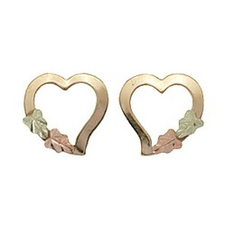 Small 10k Black Hills Gold Hearts Stud Earrings