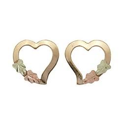 Small 10k Black Hills Gold Hearts Stud Earrings
