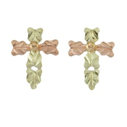 10k Black Hills Gold Cross Post Earrings
