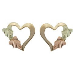 10k Black Hills Gold Tiny Heart Earrings