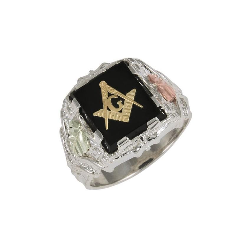 black sterling silver masonic ring blackhillsgold