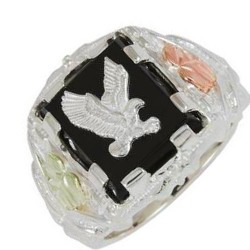 Black Hills Sterling Silver Men's Eagle Ring with 12k Gold Leaves