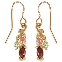 10k Black Hills Gold Garnet Earrings