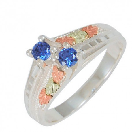 Double Indigo Cubic Zirconia Sterling Silver Ring