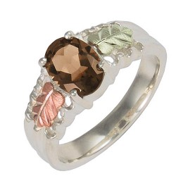 Coleman Black Hills Gold on Sterling Silver Ring w Smoky Quartz Size 5