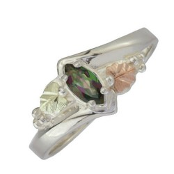Black Hills Sterling Silver Mystic Fire Gemstone Woman's Ring