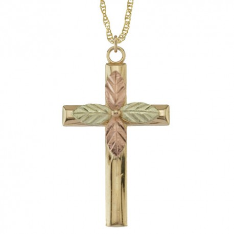 10K Black Hills Gold Religious Cross Pendant