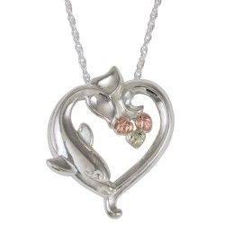 Black Hills Gold Silver Ladies Heart Dolphin Pendant