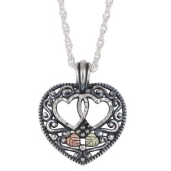 Black Hills Oxidized Sterling Silver Hearts Pendant