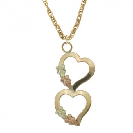 10K Black Hills Gold Double  Hearts Pendant