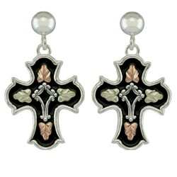 Black Hills Antiqued Sterling Silver Cross Earrings