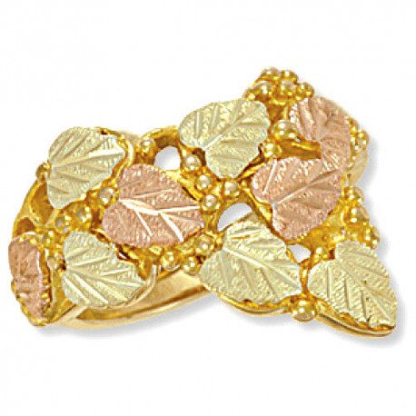 Black Hills Gold Ring with Leaf and Grapes
