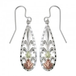 Black Hills Gold on Sterling Silver Teardrop Earrings