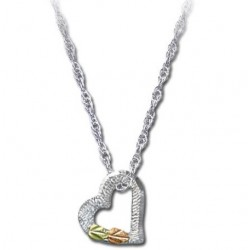 Black Hills Gold Sterling Silver Tiny Heart Pendant with Necklace