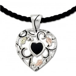 Black Hills Gold Sterling Silver Heart Pendant with Black Cord