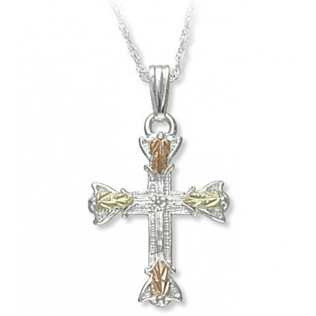 Black Hills Gold Sterling and 10K Gold Cross Pendant with Necklace