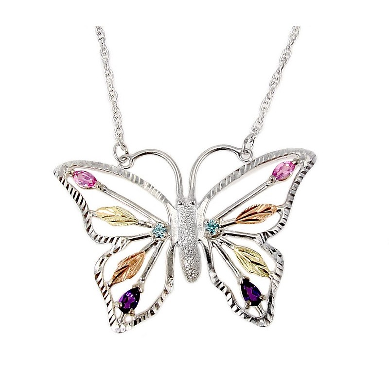 Black Hills Gold Sterling Silver Butterfly Necklace