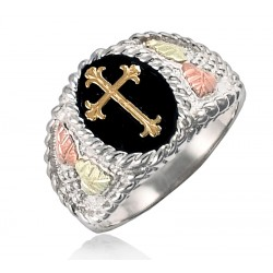 Black Hills Sterling Silver Men's Religious Cross Ring with 12k Gold Leaves