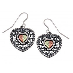 Oxidized Black Hills Gold Sterling Silver Heart Earrings