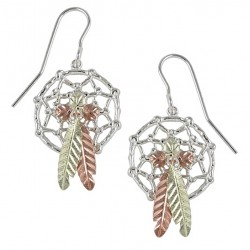 Black Hills Gold Sterling Silver Dream Catcher Earrings