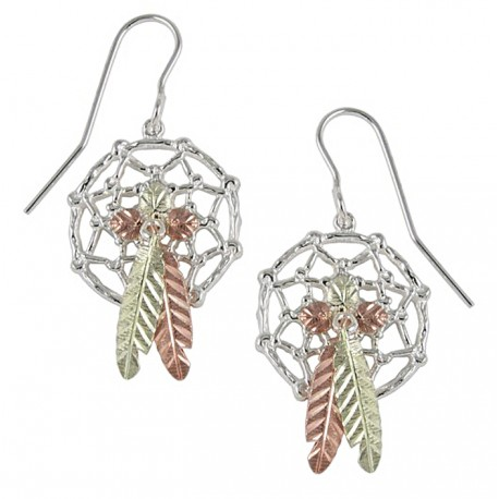 Black Hills Gold Sterling Silver Dreamcatcher Earrings