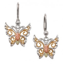 Black Hills Gold on Sterling Silver Butterfly Earrings