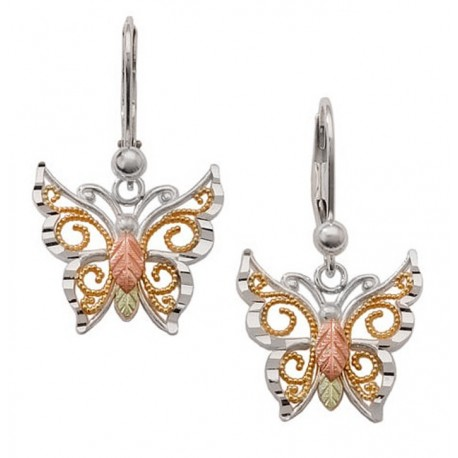 Black Hills Gold Sterling Silver Butterfly Earrings