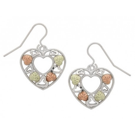 Black Hills Gold Sterling Silver Heart Earrings