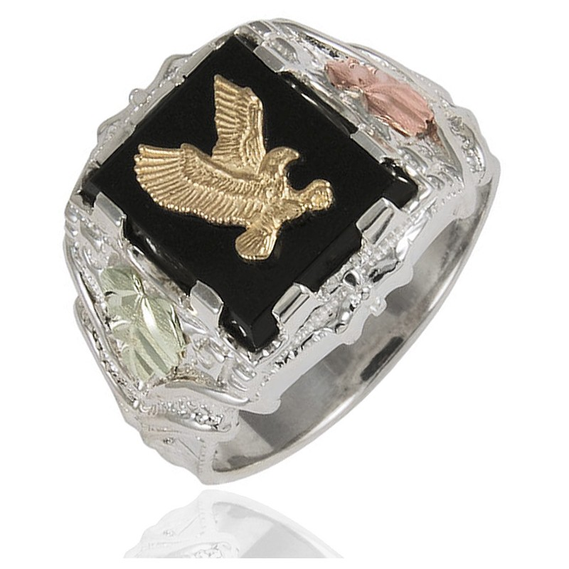 Black Hills Gold On Sterling Silver Men S Eagle Ring With