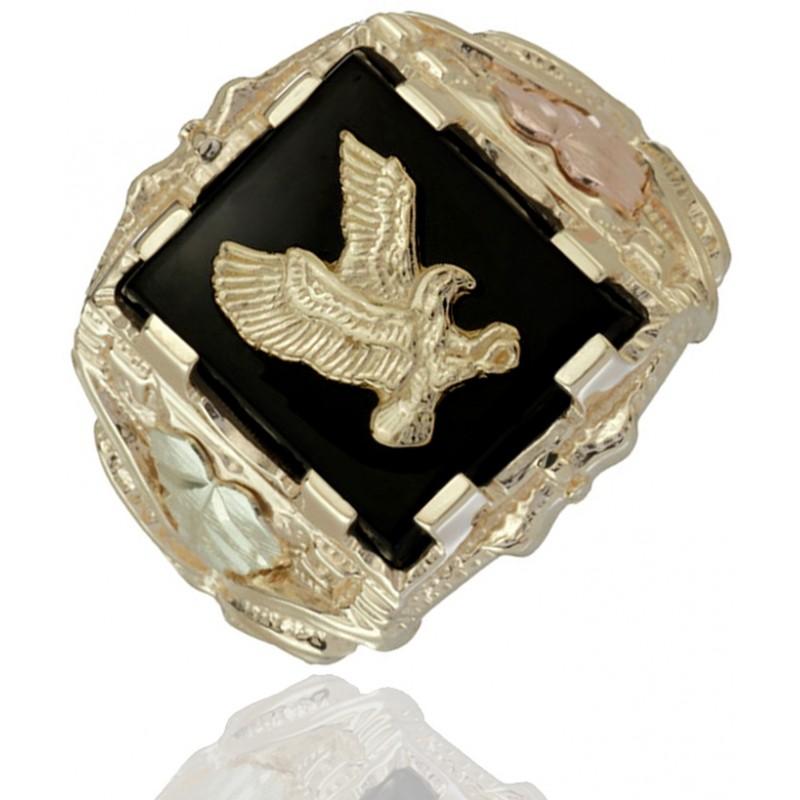 10k Black Hills Gold Men S Eagle Ring With 12k Gold Leaves