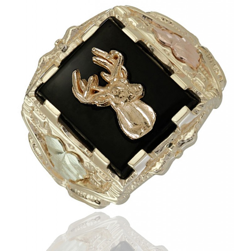 Black Hills Gold Mens 10k Gold Deer Ring With Onyx