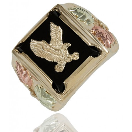 Black Hills Gold 10k Gold Eagle And Onyx Ring