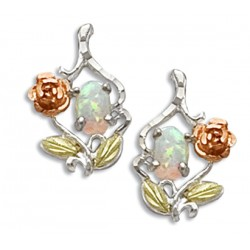 Black Hills Gold Sterling Silver Opal Earrings with 10K Gold Rose
