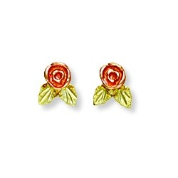 Small Black Hills Gold 10K Rose Earrings