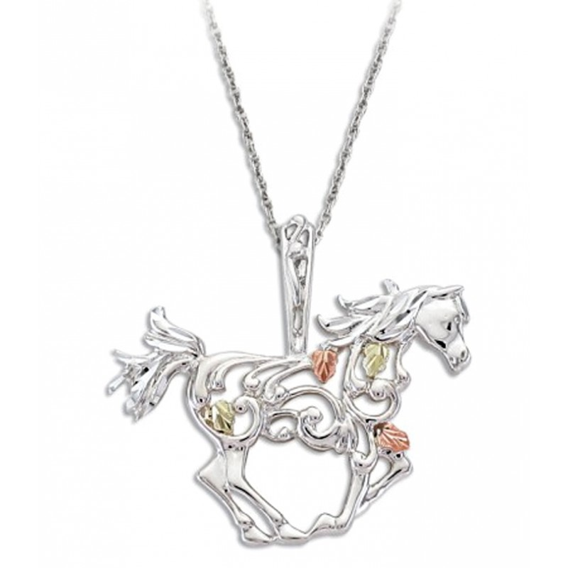 Black hills gold sterling silver horse pendant necklace mozeypictures Gallery
