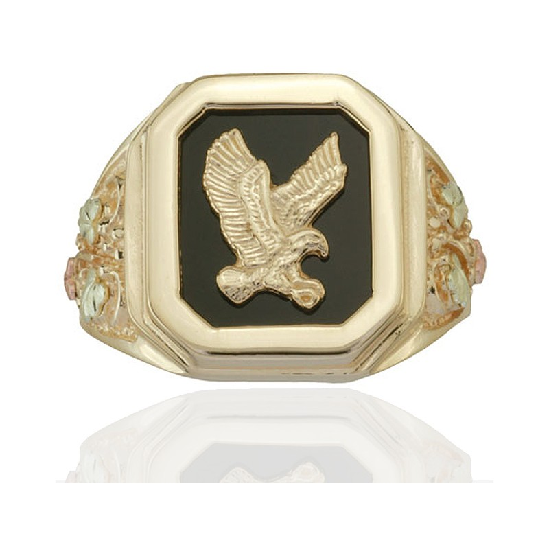 Black Hills Gold Eagle Onyx Mens Ring Blackhillsgold