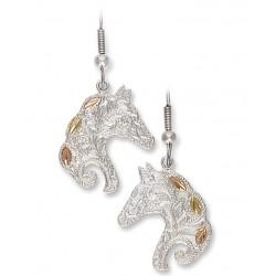 Black Hills Gold Sterling Silver Horse Earrings by Landstroms