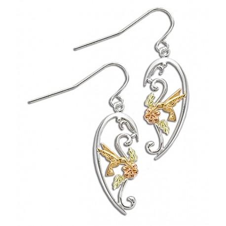 Black Hills Gold Sterling Silver Hummingbird Earrings