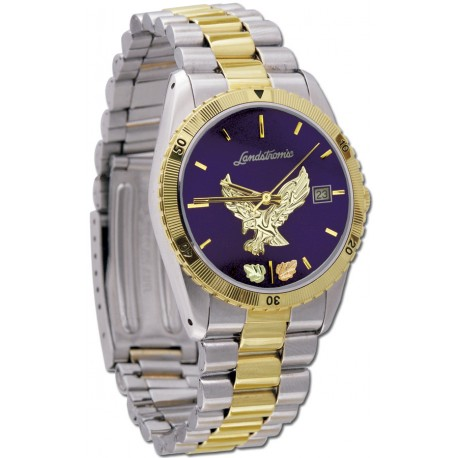 Black Hills Gold  Men's Blue Dial Eagle Watch  with Gold Trim