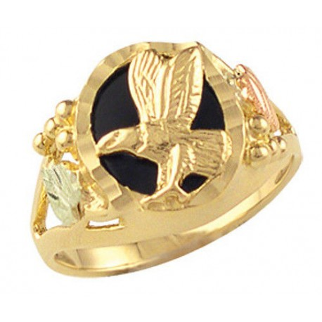 BLACK HILLS GOLD LADIES 10X12MM ONYX EAGLE RING