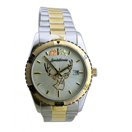 Black Hills Gold  Men's Silver Dial Deer Watch  with Gold Trim