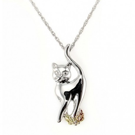 Black Hills Gold Sterling Silver and 12K Gold Cat Necklace