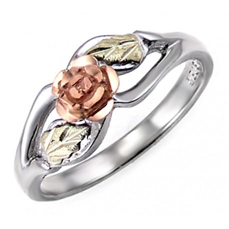 Landstroms Black Hills Gold Sterling Silver Rose Ring