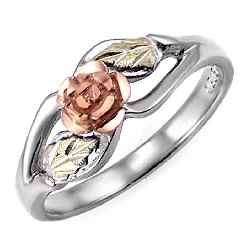 Landstrom S 174 Black Hills Gold Sterling Silver Rose Ring