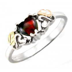 Landstrom's  Sterling Silver and 12K Gold Ring with Black Opal