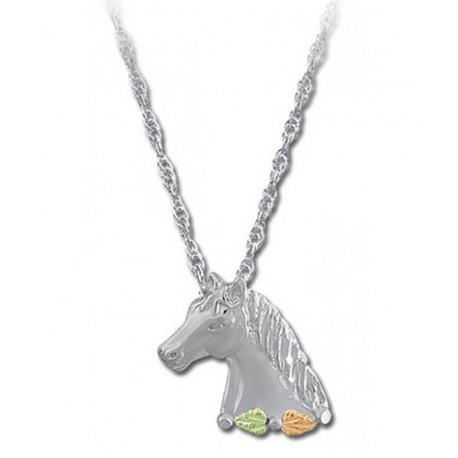 Black Hills Gold Sterling Silver Horse Head Pendant Necklace