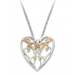 Landstrom's® Black Hills Gold on Sterling Silver Heart Pendant with 10k Hummingbirds